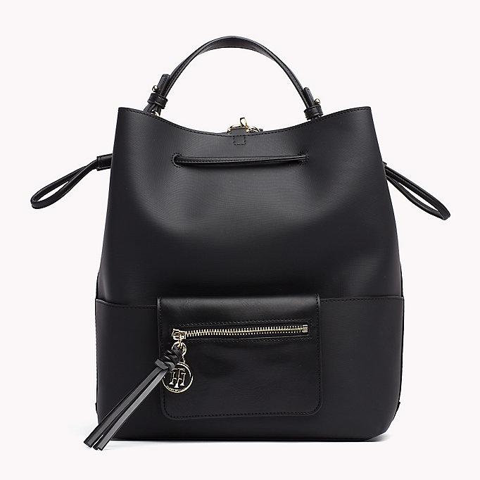 hilfiger bucket bag rucksack black logo tommy hilfiger taschen. Black Bedroom Furniture Sets. Home Design Ideas