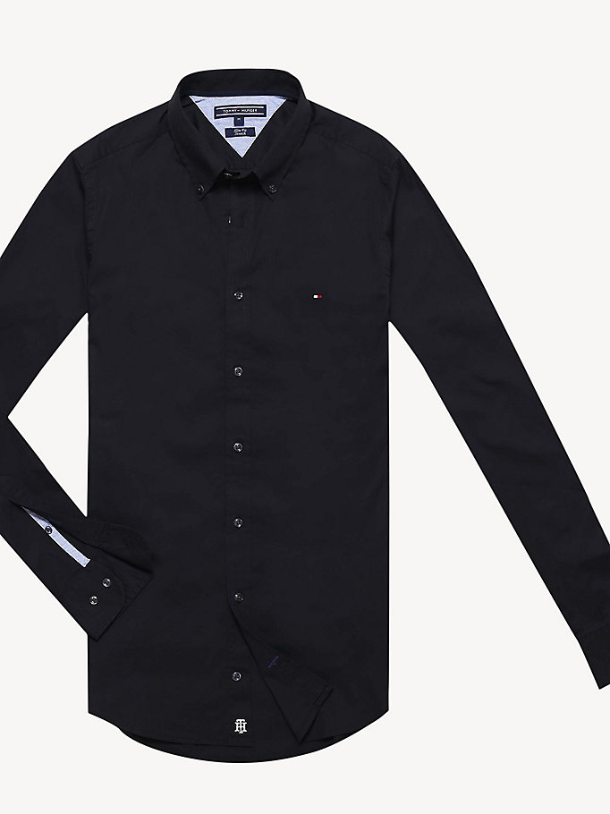 black slim fit stretch poplin shirt for men tommy hilfiger