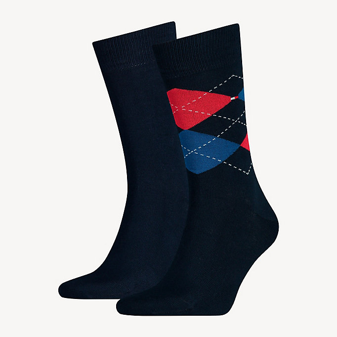 TOMMY HILFIGER 2 Pack Argyle Socks - TIBETAN RED - TOMMY HILFIGER Men - main image