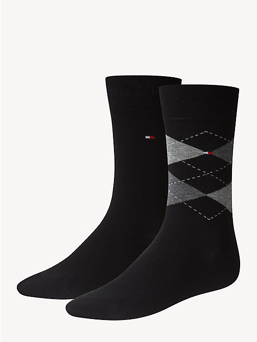 TOMMY HILFIGER 2 Pack Argyle Socks - BLACK - TOMMY HILFIGER Socks - main image