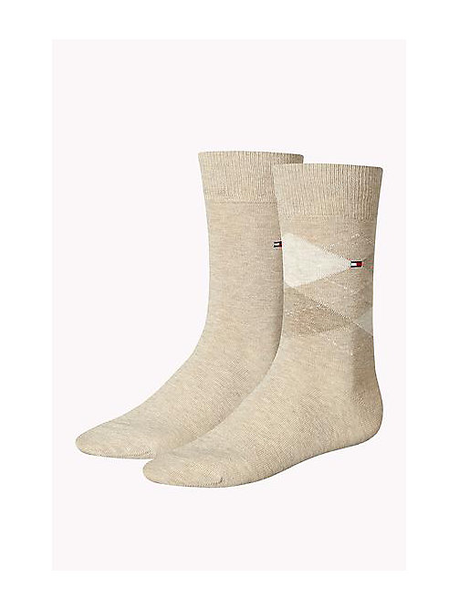 TOMMY HILFIGER 2 Pack Argyle Socks - LIGHT BEIGE MELANGE - TOMMY HILFIGER Socks - main image