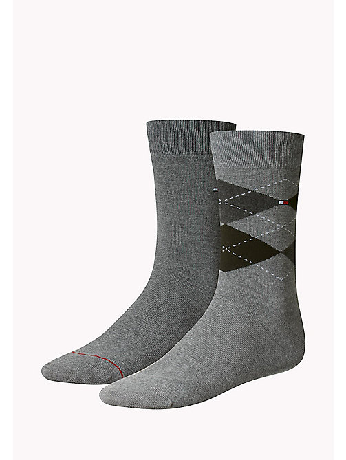 TOMMY HILFIGER 2 Pack Argyle Socks - MIDDLE GREY MELANGE - TOMMY HILFIGER Socks - main image