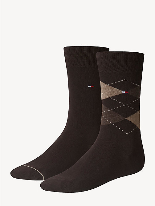 TOMMY HILFIGER 2 Pack Argyle Socks - KENSINGTON BROWN - TOMMY HILFIGER Socks - main image