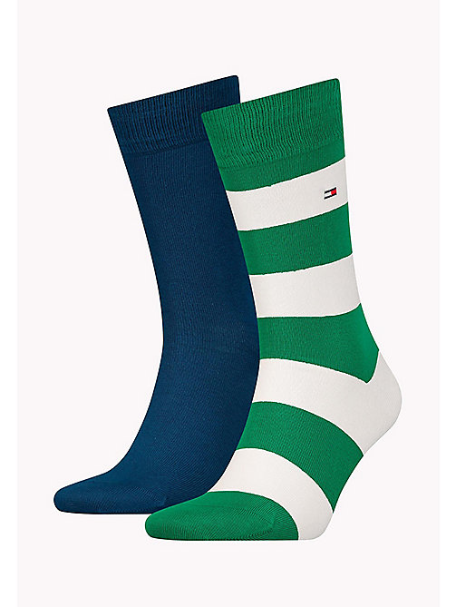TOMMY HILFIGER 2-Pack Wide Stripe Rugby Socks - GREEN / WHITE - TOMMY HILFIGER Socks - main image