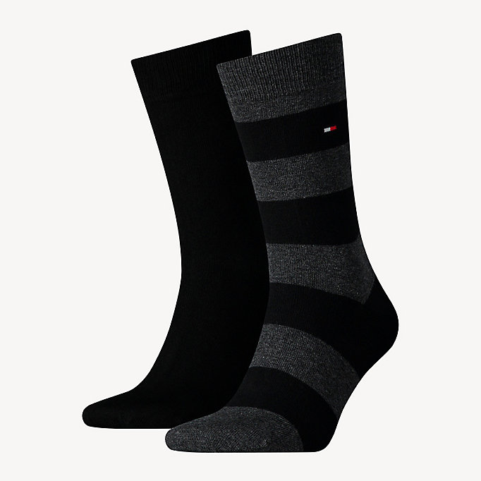 black 2-pack rugby socks for men tommy hilfiger