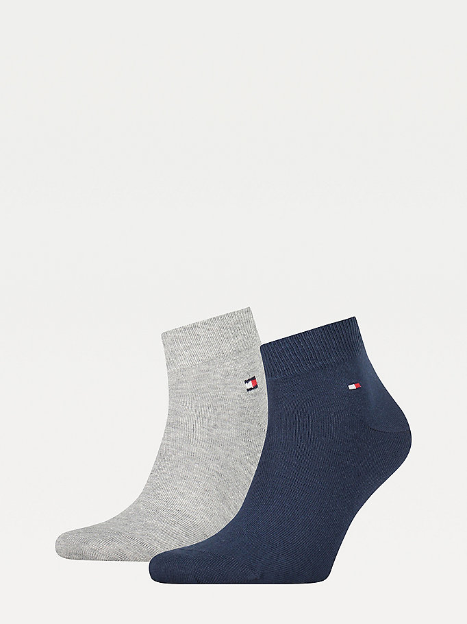 grey 2-pack quarter length socks for men tommy hilfiger