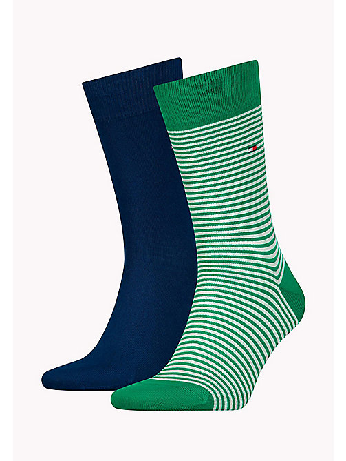 TOMMY HILFIGER 2-Pack Stripe Socks - GREEN / WHITE - TOMMY HILFIGER Socks - main image