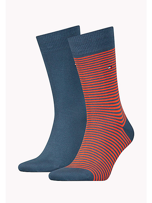 TOMMY HILFIGER 2 Pack Striped Socks - BLUE COMBO - TOMMY HILFIGER Socks - main image