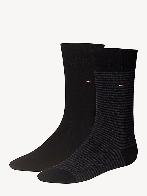 TOMMY HILFIGER 2 Pack Striped Socks - BLACK - TOMMY HILFIGER Socks - main image