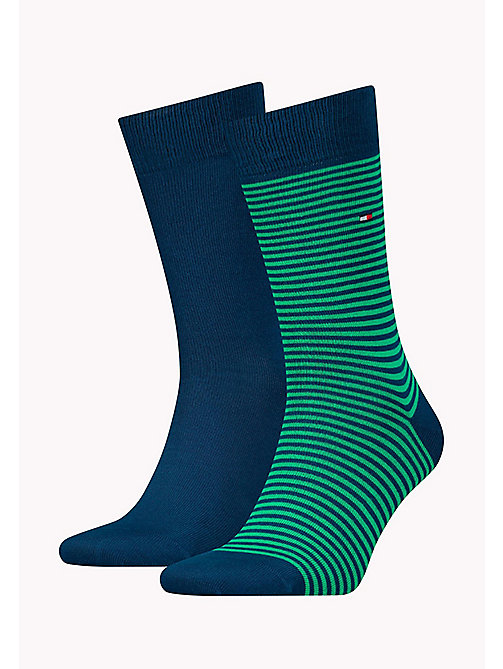 TOMMY HILFIGER 2 Pack Striped Socks - GREEN - TOMMY HILFIGER Socks - main image