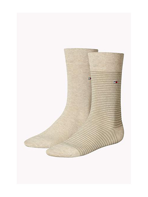 TOMMY HILFIGER 2 Pack Striped Socks - LIGHT BEIGE MELANGE - TOMMY HILFIGER Socks - main image