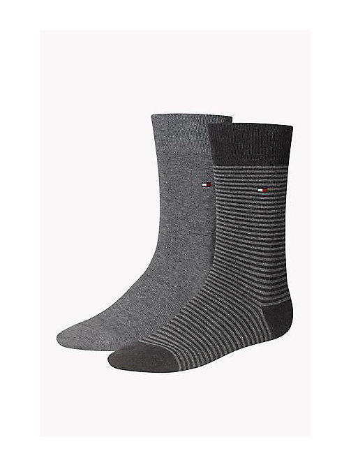 TOMMY HILFIGER 2 Pack Striped Socks - MIDDLE GREY MELANGE - TOMMY HILFIGER Socks - main image