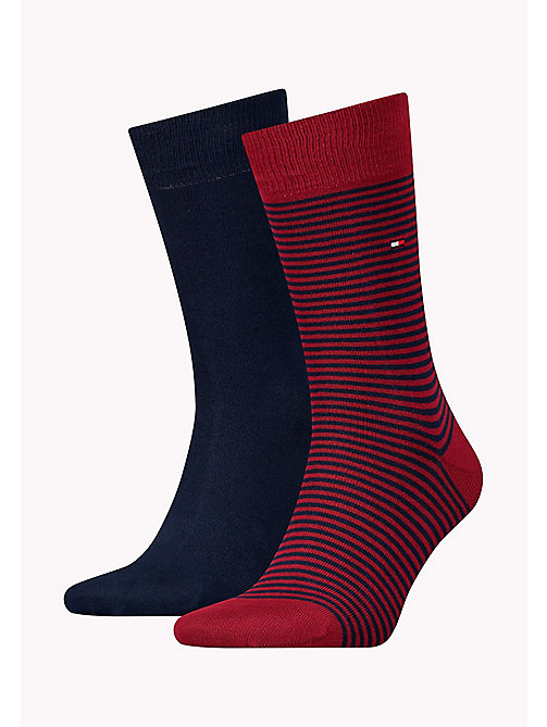 TOMMY HILFIGER 2 Pack Striped Socks - TIBETAN RED - TOMMY HILFIGER Socks - main image