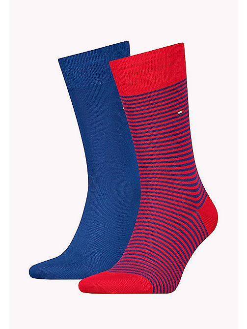 TOMMY HILFIGER 2 Pack Striped Socks - RIBBON RED - TOMMY HILFIGER Socks - main image