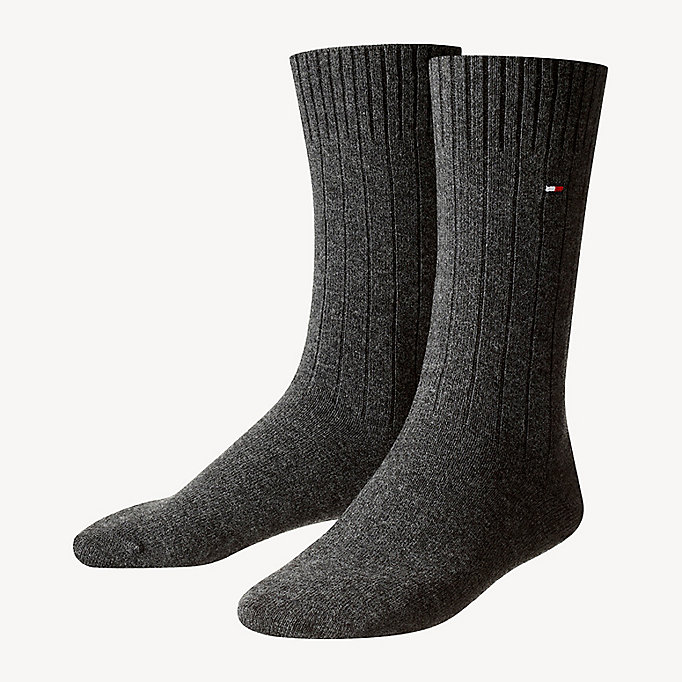 TOMMY HILFIGER TH MEN SOCK WASHINGTON CASHMERE BLEND 1P - BLACK - TOMMY HILFIGER Men - main image