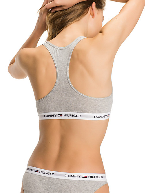 TOMMY HILFIGER Pull-On Race Back Sporty Bra - GREY HEATHER - TOMMY HILFIGER Basics - detail image 1