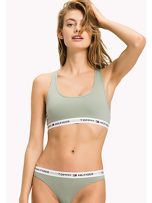 TOMMY HILFIGER Pull-On Race Back Sporty Bra - ICEBERG GREEN - TOMMY HILFIGER Underwear & Swimwear - main image