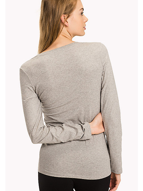 TOMMY HILFIGER Long Sleeve  Stretch Cotton Top - GREY HEATHER - TOMMY HILFIGER Lounge & Nightwear - detail image 1