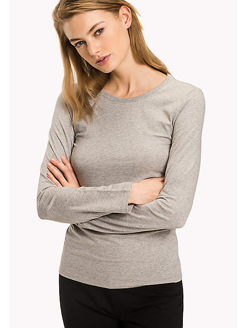 TOMMY HILFIGER Long Sleeve  Stretch Cotton Top - GREY HEATHER - TOMMY HILFIGER Lounge & Nightwear - main image