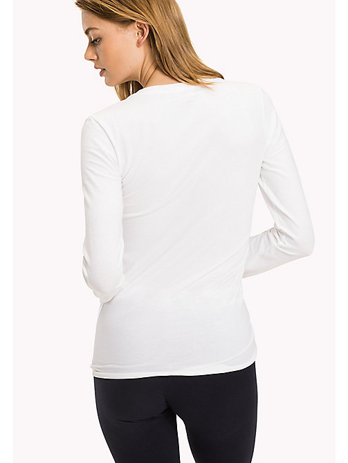 TOMMY HILFIGER Long Sleeve  Stretch Cotton Top - CLASSIC WHITE - TOMMY HILFIGER Lounge & Nightwear - detail image 1