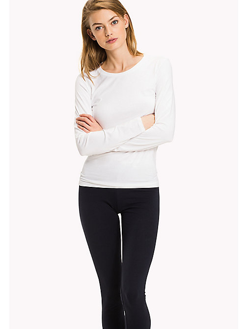 TOMMY HILFIGER Long Sleeve  Stretch Cotton Top - CLASSIC WHITE - TOMMY HILFIGER Lounge & Nightwear - main image
