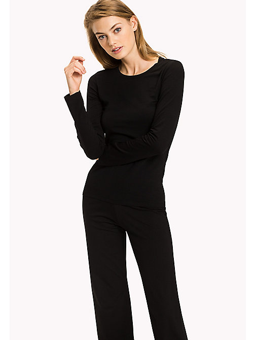 TOMMY HILFIGER Long Sleeve  Stretch Cotton Top - BLACK - TOMMY HILFIGER Lounge & Nightwear - main image