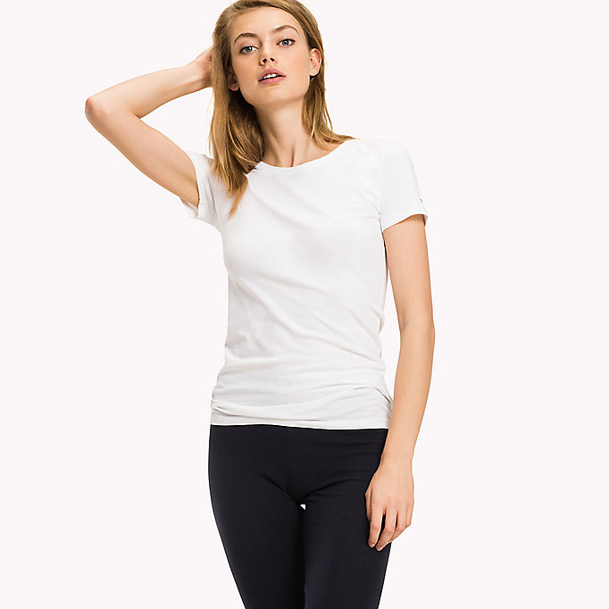 TOMMY HILFIGER Simple Stretch Cotton T-Shirt - BLACK - TOMMY HILFIGER Women - main image