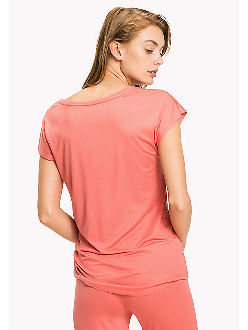 TOMMY HILFIGER Simple V-Neck T-Shirt - SPICED CORAL - TOMMY HILFIGER Tops - detail image 1