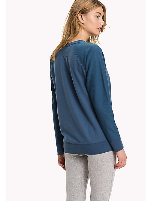 TOMMY HILFIGER Classic Cotton Terry Sweatshirt - INDIAN TEAL - TOMMY HILFIGER Tops - detail image 1