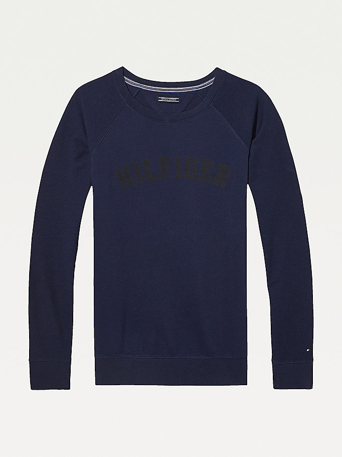 blue classic cotton terry sweatshirt for women tommy hilfiger
