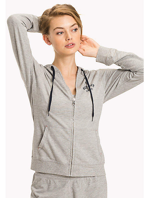 TOMMY HILFIGER Cotton Terry Zip Thru Hoodie - GREY HEATHER BC05 - TOMMY HILFIGER Tops - main image