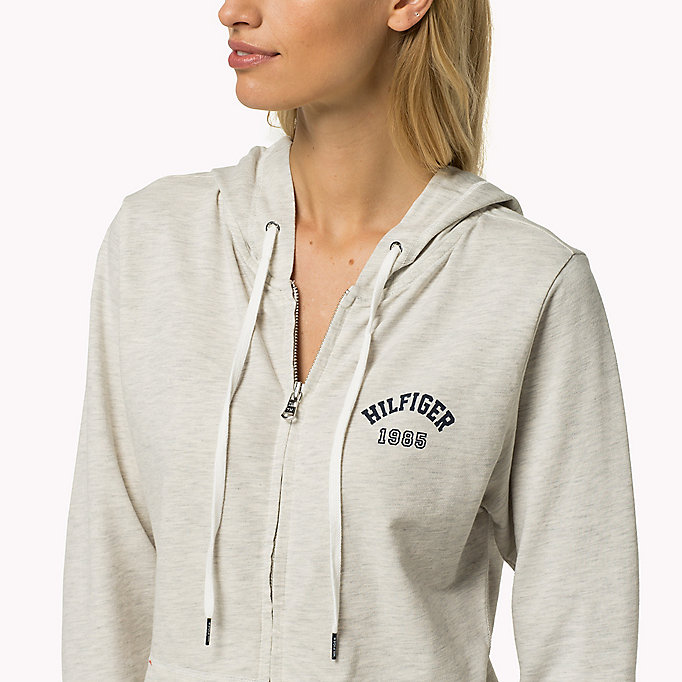 TOMMY HILFIGER Cotton Terry Zip Thru Hoodie - GREY HEATHER BC05 - TOMMY HILFIGER Women - detail image 2