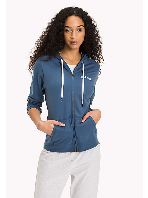 TOMMY HILFIGER Cotton Terry Zip Thru Hoodie - INDIAN TEAL - TOMMY HILFIGER Tops - main image