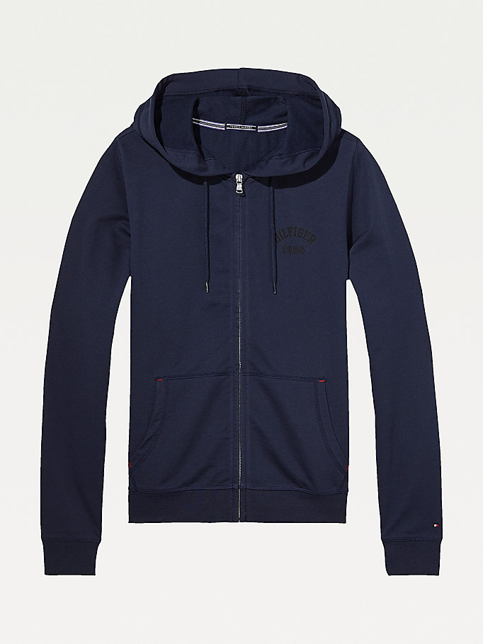 TOMMY HILFIGER Cotton Terry Zip Thru Hoodie - MID GREY HEATHER - TOMMY HILFIGER Women - main image