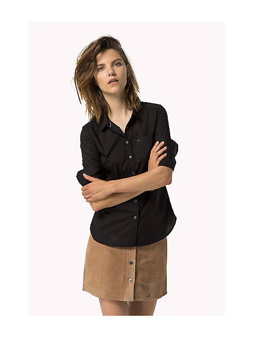 TOMMY JEANS Original Cotton Stretch Shirt - TOMMY BLACK - TOMMY JEANS Tops - main image