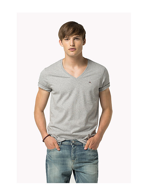Original V-Neck T-shirt - LT GREY HTR - TOMMY JEANS Clothing - main image