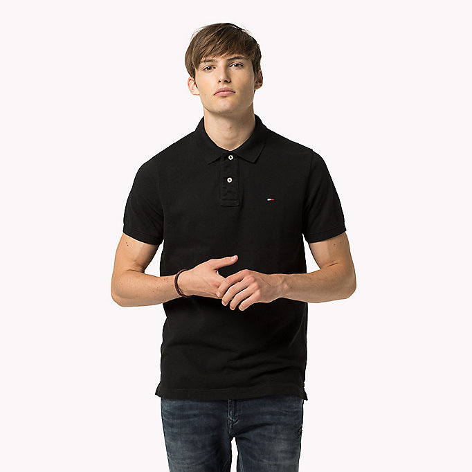 original cotton pique polo nero da uomo tommy jeans