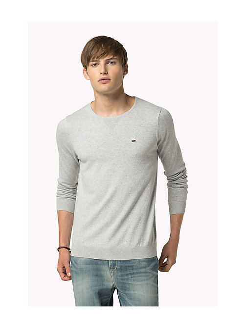 TOMMY JEANS Original Sweater mit Rundhalsausschnitt - LT GREY HTR - TOMMY JEANS Clothing - main image