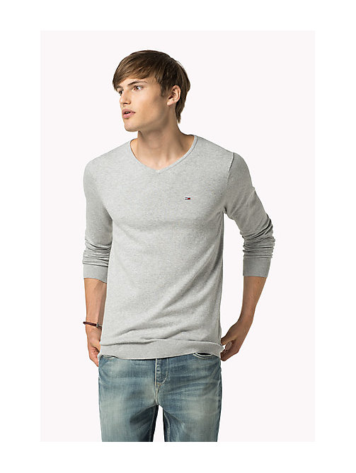 TOMMY JEANS Original Sweater mit V-Ausschnitt - LT GREY HTR - TOMMY JEANS Clothing - main image