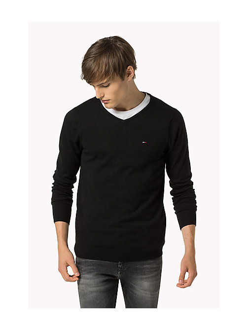 Original V-Neck Jumper - TOMMY BLACK - TOMMY JEANS Clothing - main image