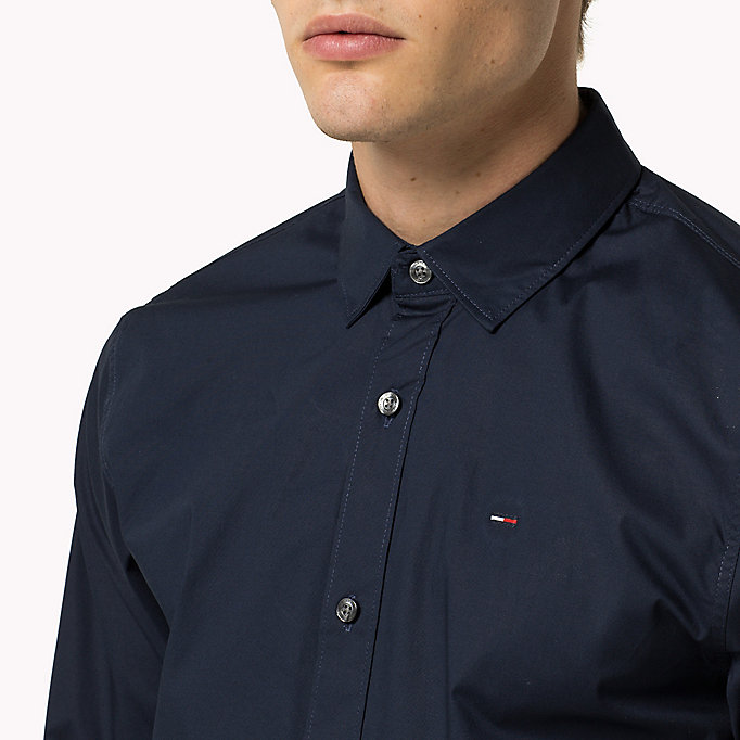 TOMMY JEANS Original Cotton Stretch Shirt - TOMMY BLACK - TOMMY JEANS Мужчины - подробное изображение 2