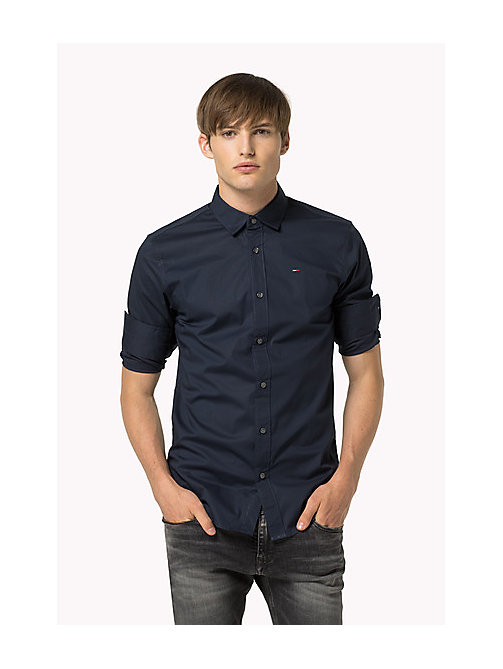 Original Cotton Stretch Shirt - BLACK IRIS - TOMMY JEANS Men - main image