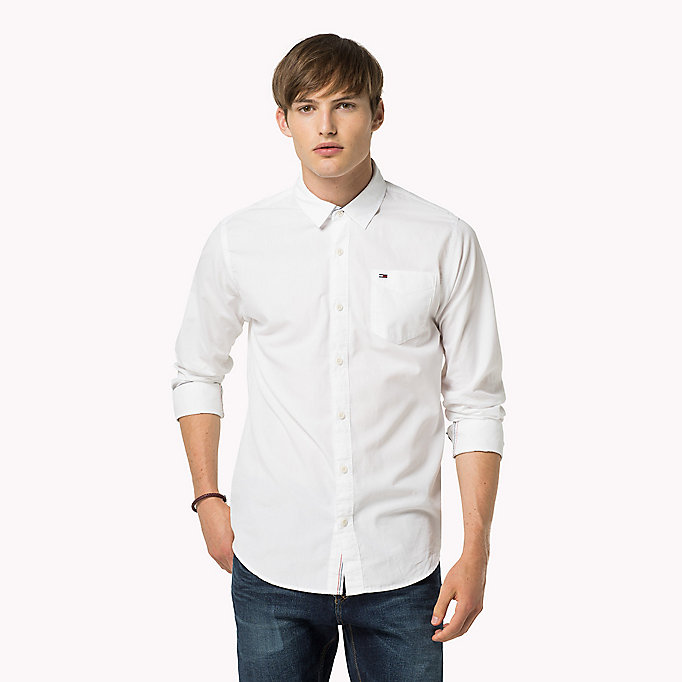 white original cotton shirt for men tommy jeans