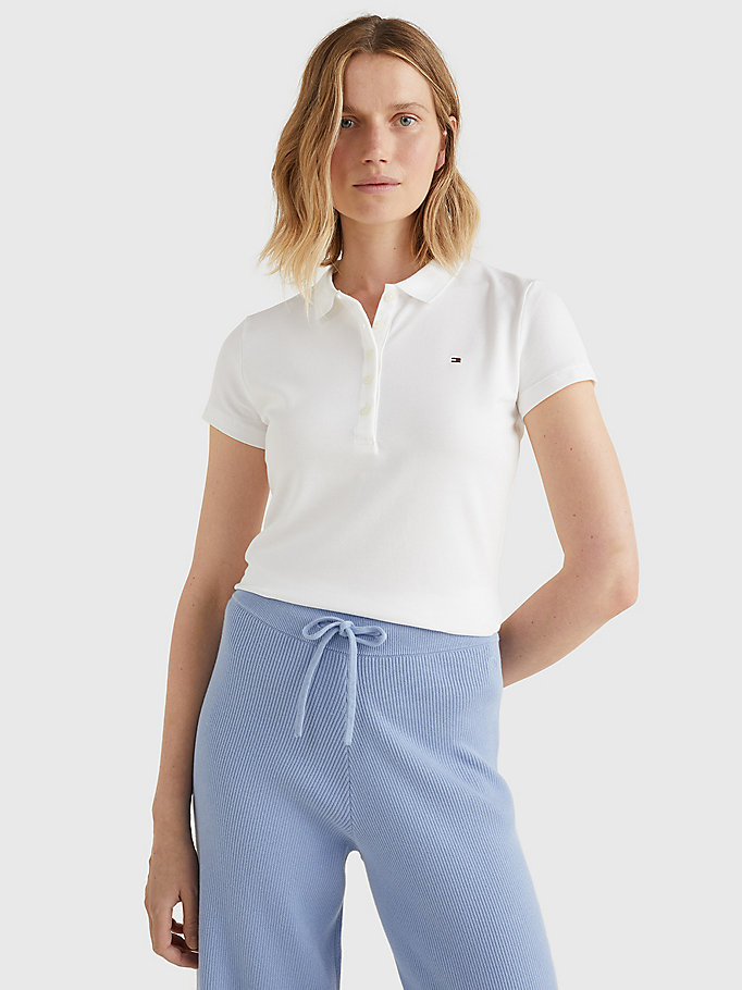 white heritage slim fit polo shirt for women tommy hilfiger