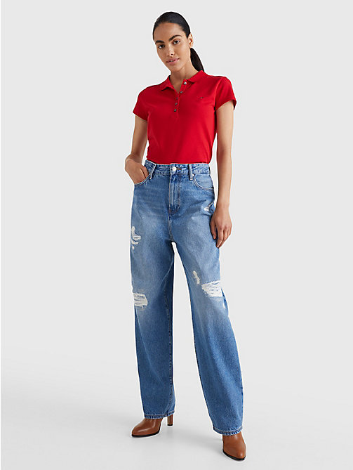 TOMMY HILFIGER Heritage Slim Fit Polo Shirt - APPLE RED - TOMMY HILFIGER Basics - detail image 1