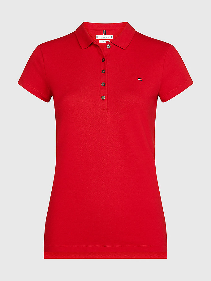 red heritage slim fit polo shirt for women tommy hilfiger