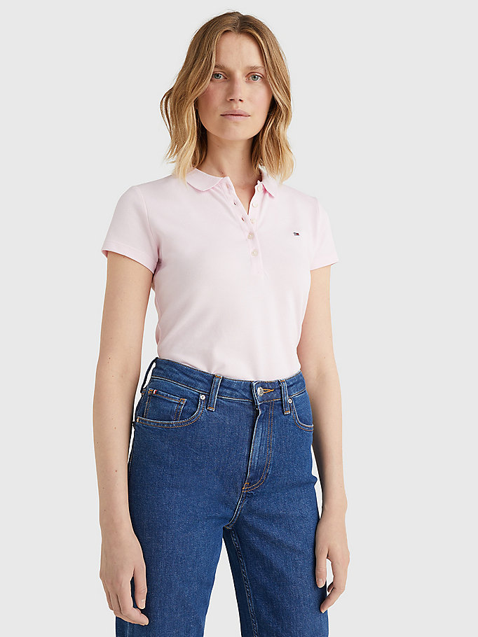 pink heritage slim fit polo shirt for women tommy hilfiger