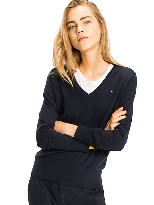 TOMMY HILFIGER V-Neck Jumper - MIDNIGHT - TOMMY HILFIGER Jumpers - main image