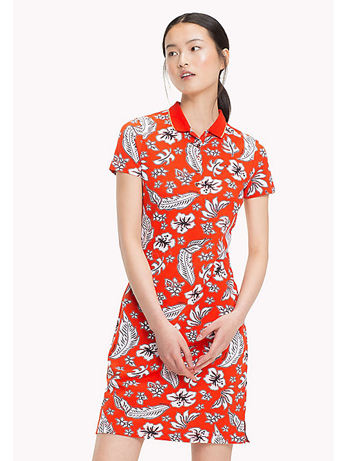 TOMMY HILFIGER Tropical Print Polo Dress - TROPICAL PRT / FIESTA - TOMMY HILFIGER Vacation Style - main image