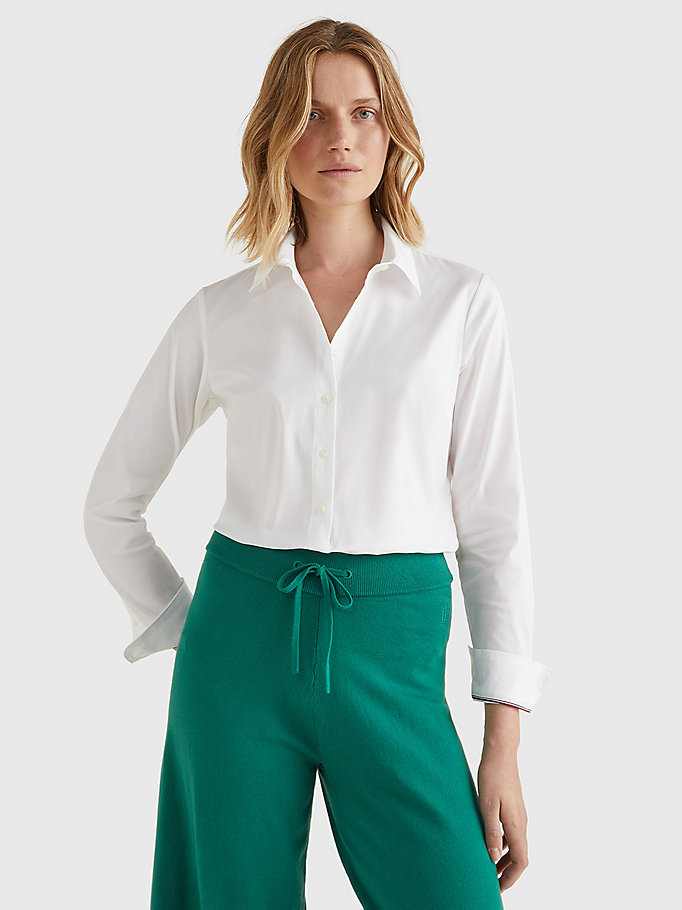 white heritage slim fit shirt for women tommy hilfiger